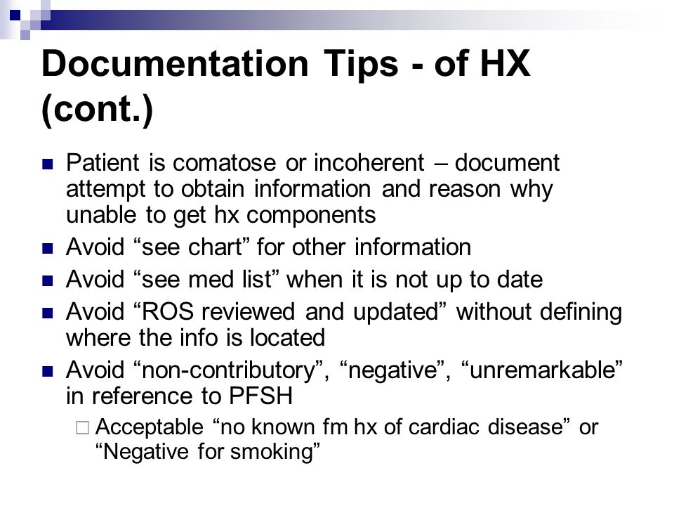 Documentation Tips - of HX (cont.)