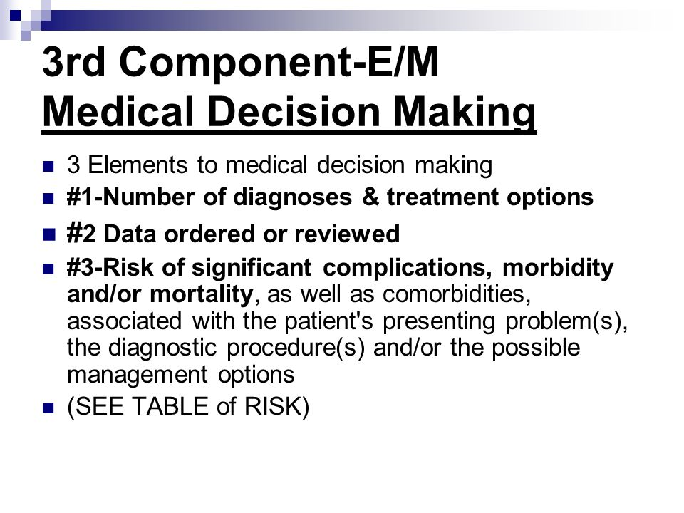 3rd Component-E/M Medical Decision Making