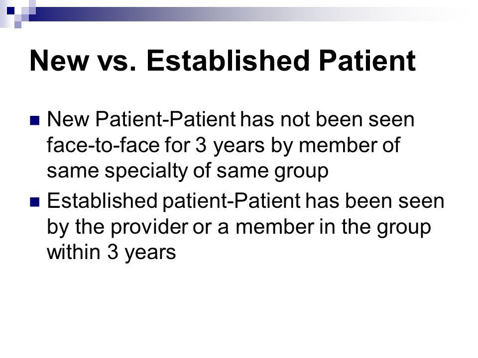 New vs. Established Patient