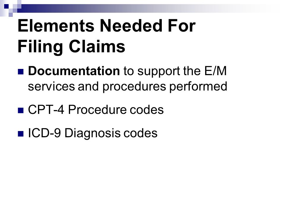 Elements Needed For Filing Claims