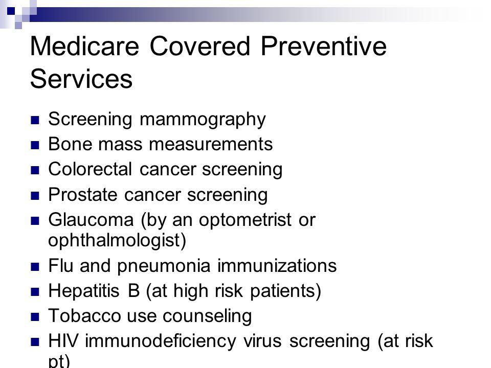 Medicare Covered Preventive Services