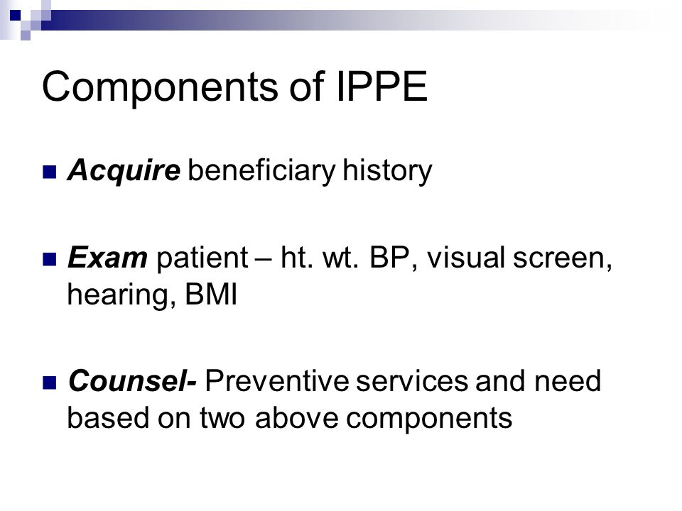 Components of IPPE Acquire beneficiary history