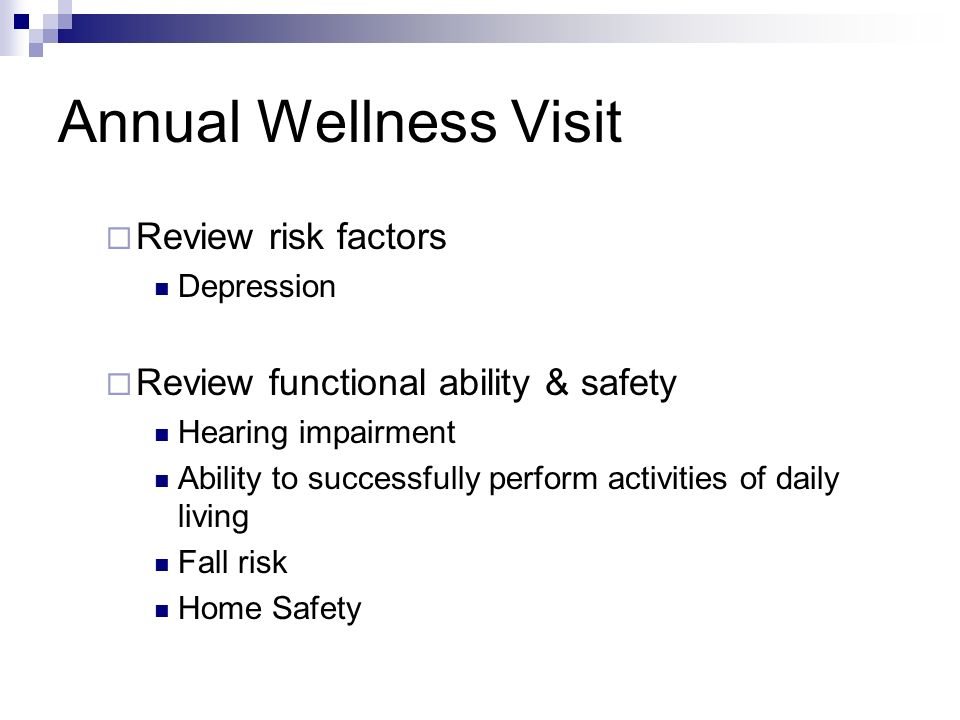 Annual Wellness Visit Review risk factors