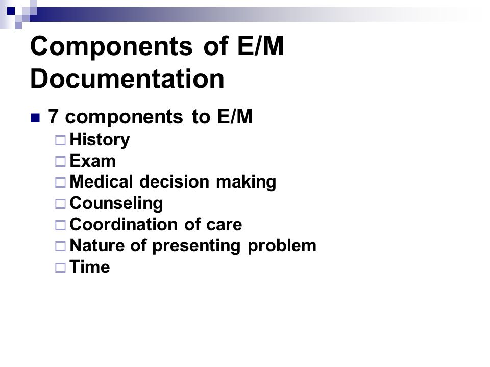Components of E/M Documentation