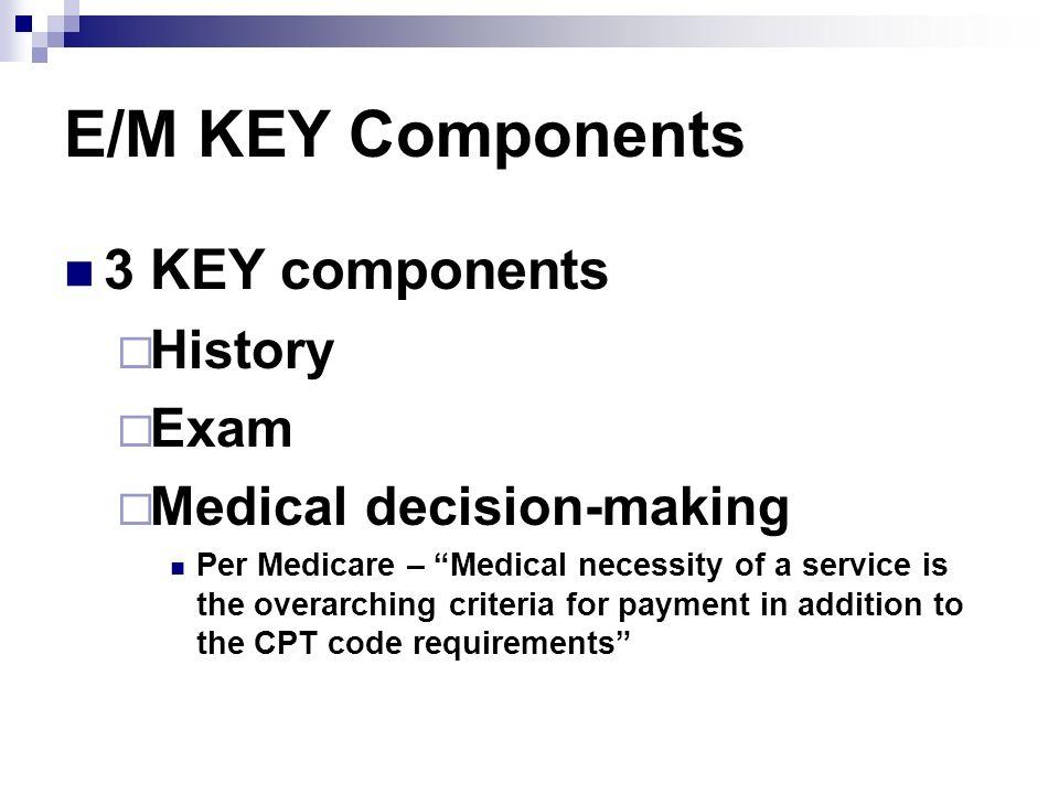 E/M KEY Components 3 KEY components History Exam