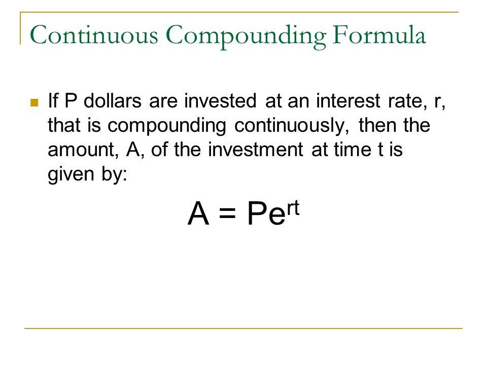 Continuous Compounding Formula