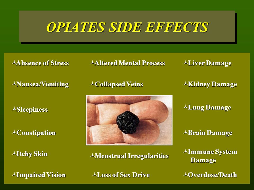 OPIATES SIDE EFFECTS Absence of Stress Altered Mental Process