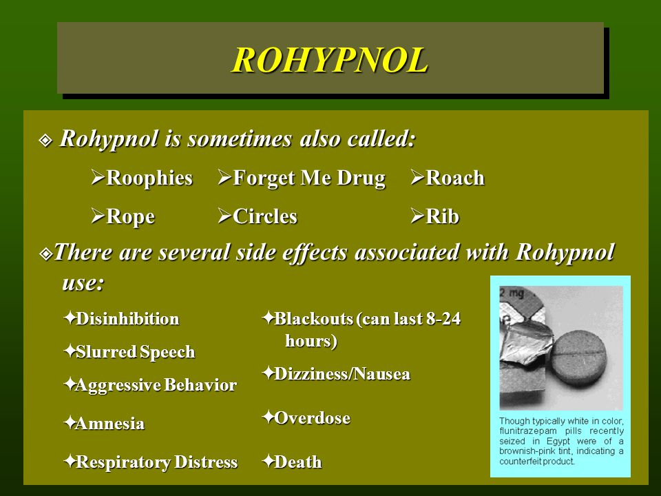 ROHYPNOL Rohypnol is sometimes also called: