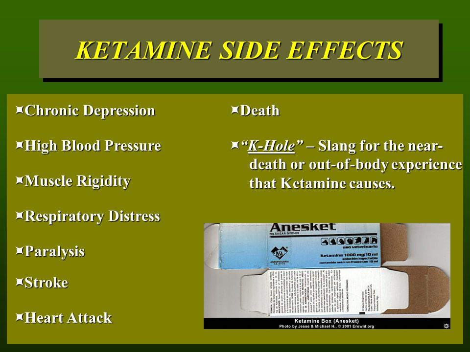 KETAMINE SIDE EFFECTS Chronic Depression Death High Blood Pressure
