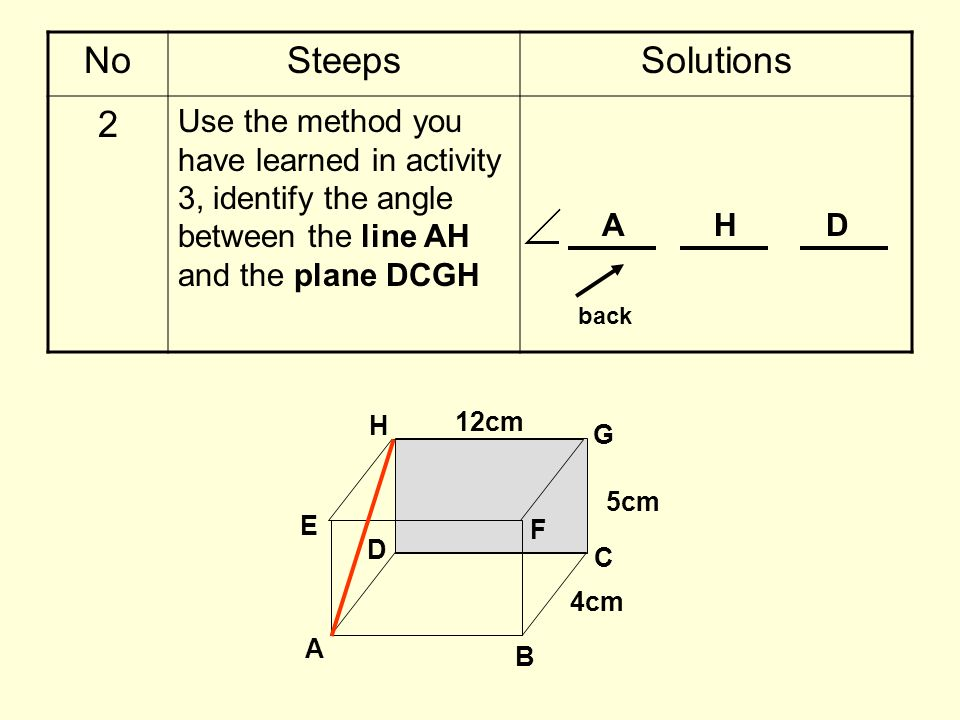 No Steeps. Solutions. 2. Use the method you have learned in activity 3, identify the angle between the line AH and the plane DCGH.