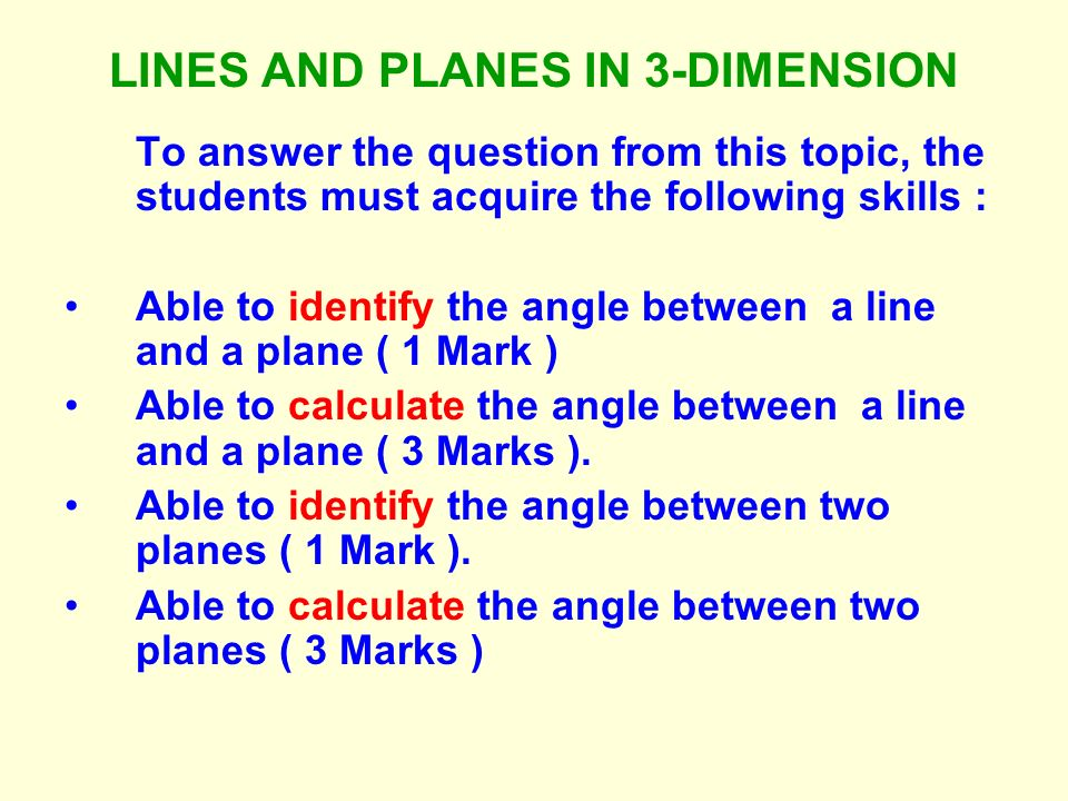LINES AND PLANES IN 3-DIMENSION