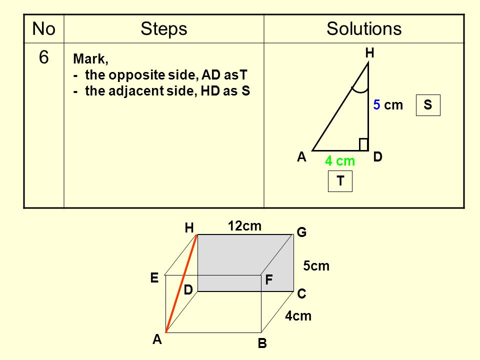 No Steps Solutions 6 H Mark, - the opposite side, AD asT