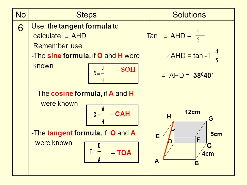 6 No Steps Solutions Use the tangent formula to calculate AHD.