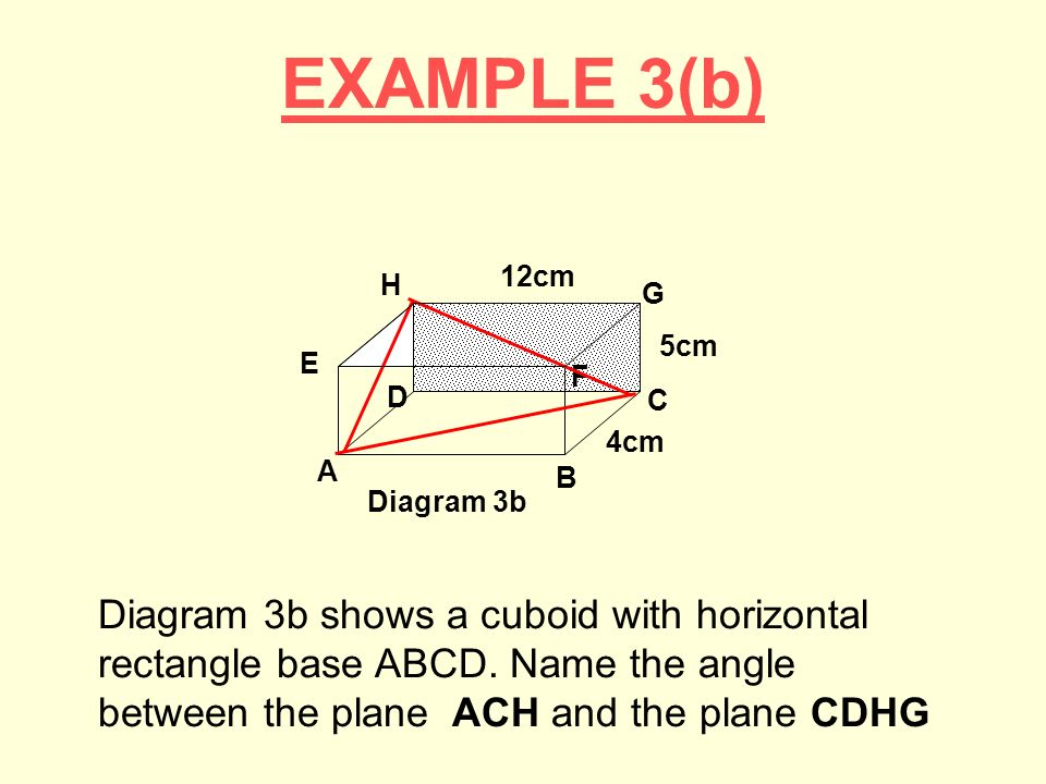 EXAMPLE 3(b) Diagram 3b. E. 5cm. B. A. C. D. H. G. F. 4cm. 12cm.