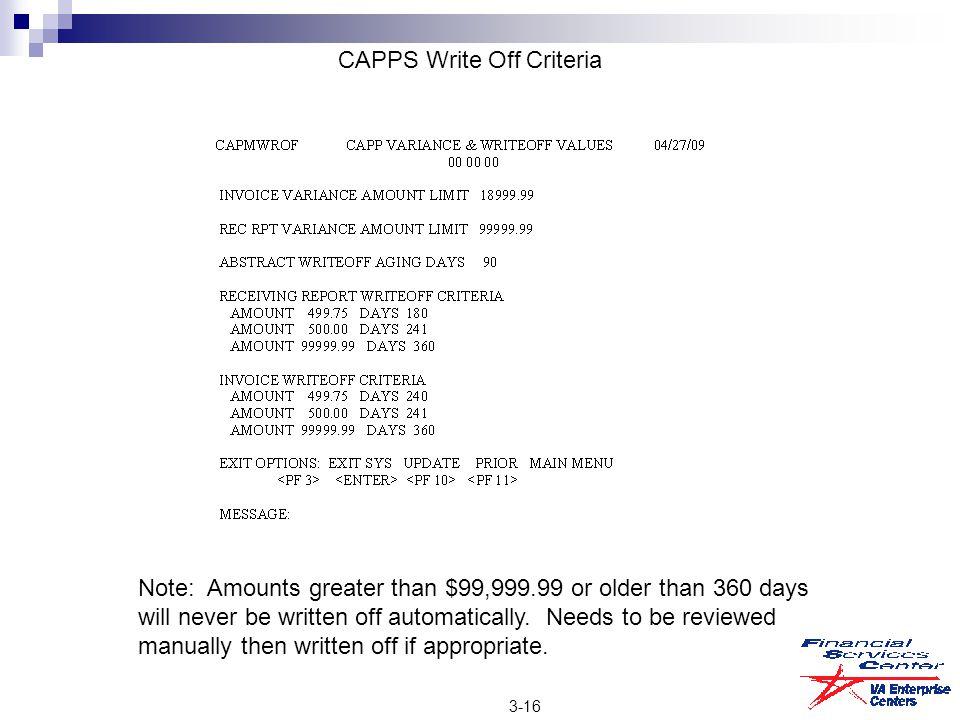 CAPPS Write Off Criteria