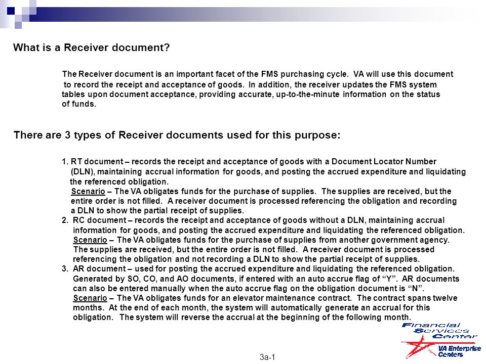What is a Receiver document