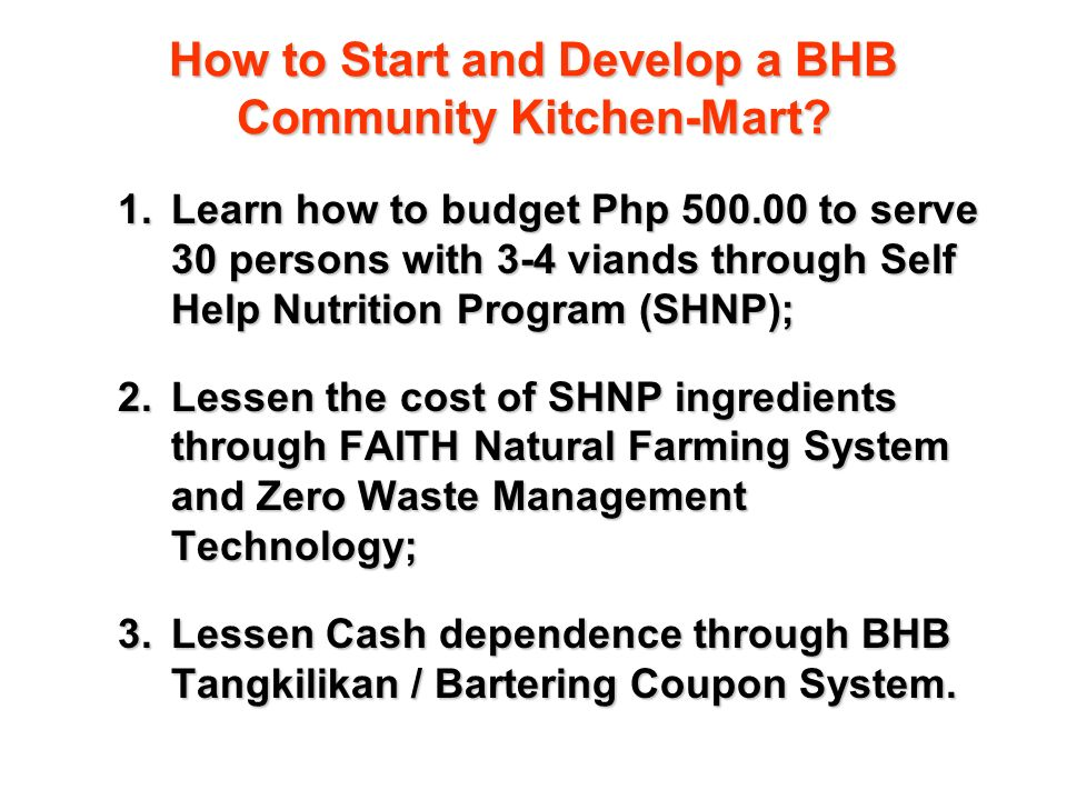 How to Start and Develop a BHB Community Kitchen-Mart