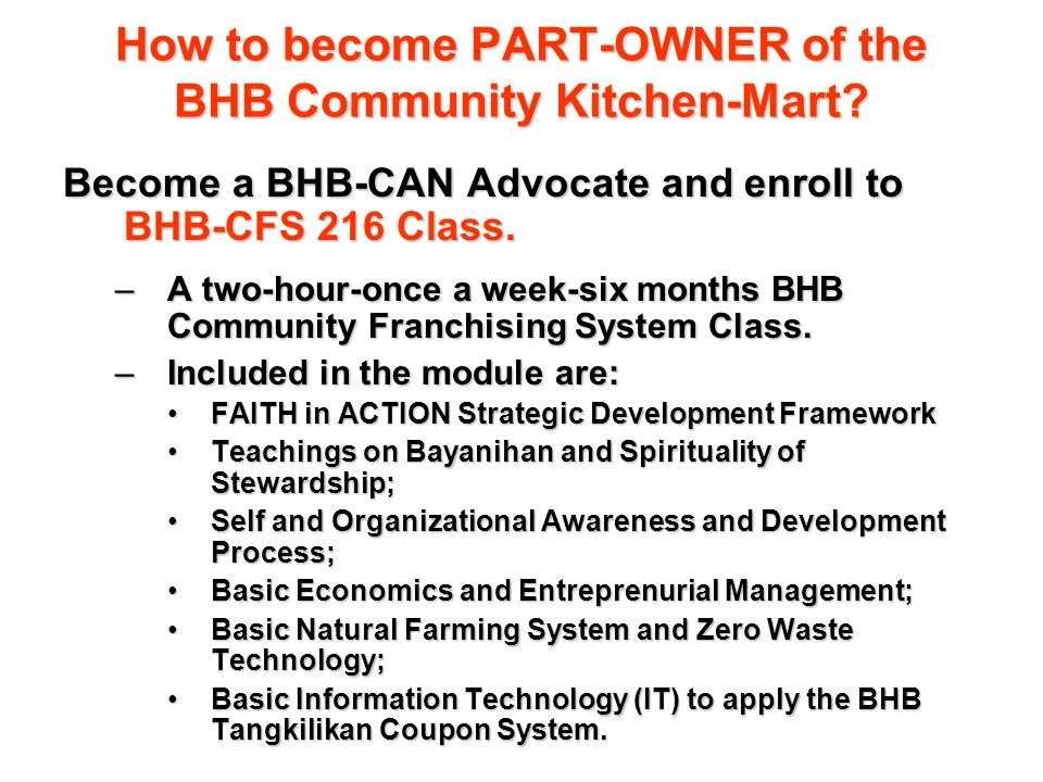 How to become PART-OWNER of the BHB Community Kitchen-Mart