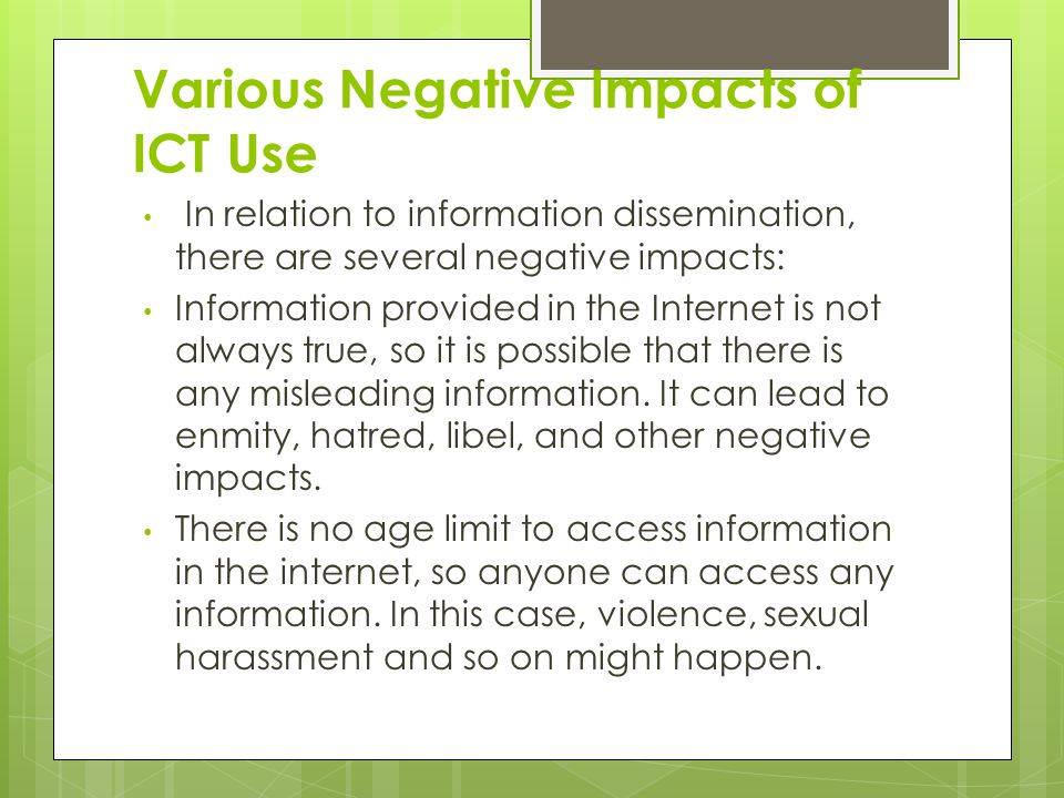 Various Negative Impacts of ICT Use