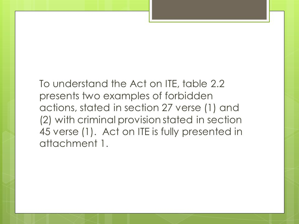 To understand the Act on ITE, table 2