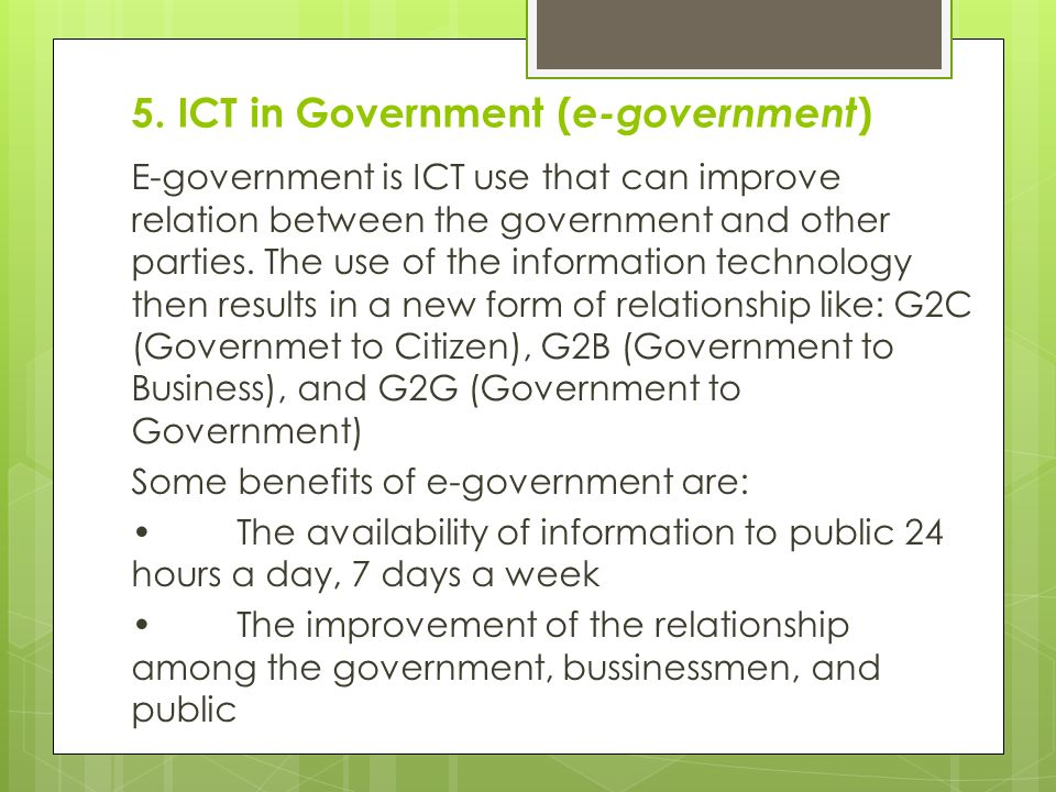 5. ICT in Government (e-government)