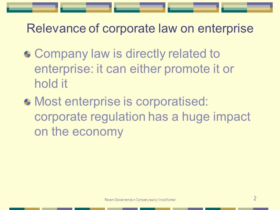 Relevance of corporate law on enterprise