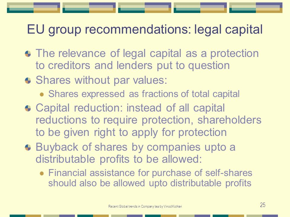 EU group recommendations: legal capital
