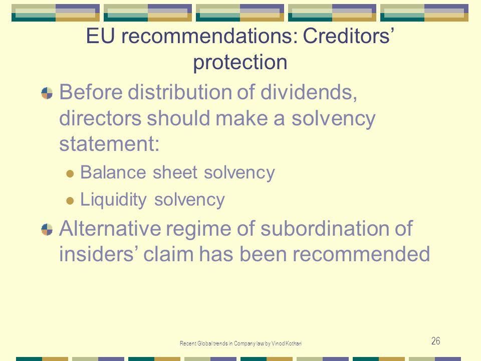 EU recommendations: Creditors' protection