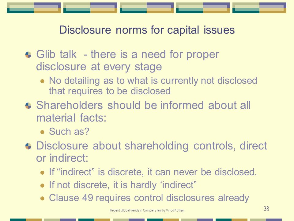 Disclosure norms for capital issues