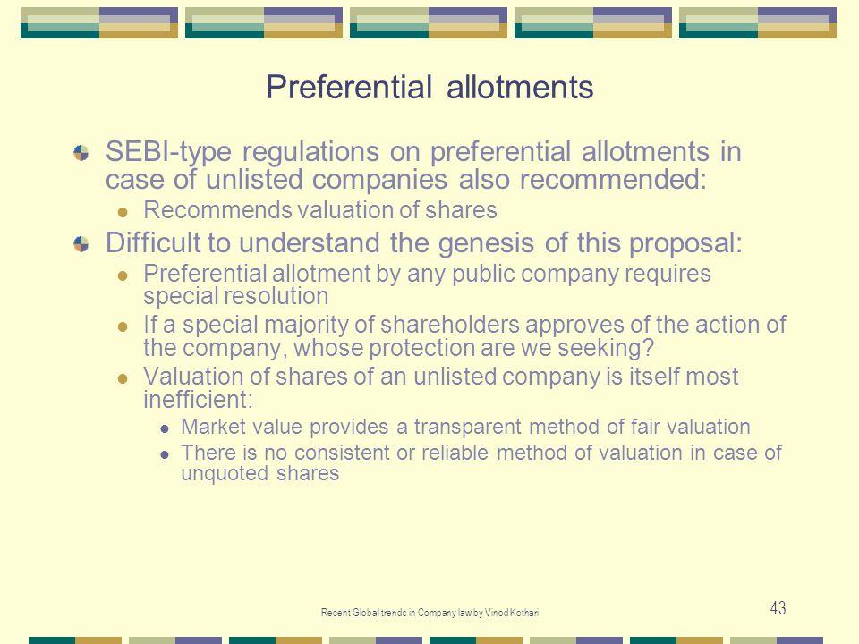 Preferential allotments