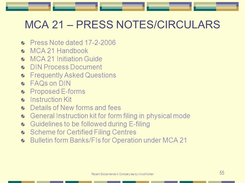 MCA 21 – PRESS NOTES/CIRCULARS