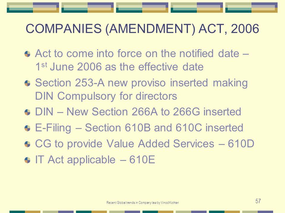 COMPANIES (AMENDMENT) ACT, 2006