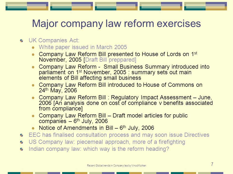 Major company law reform exercises