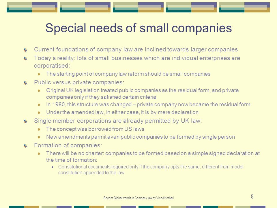 Special needs of small companies