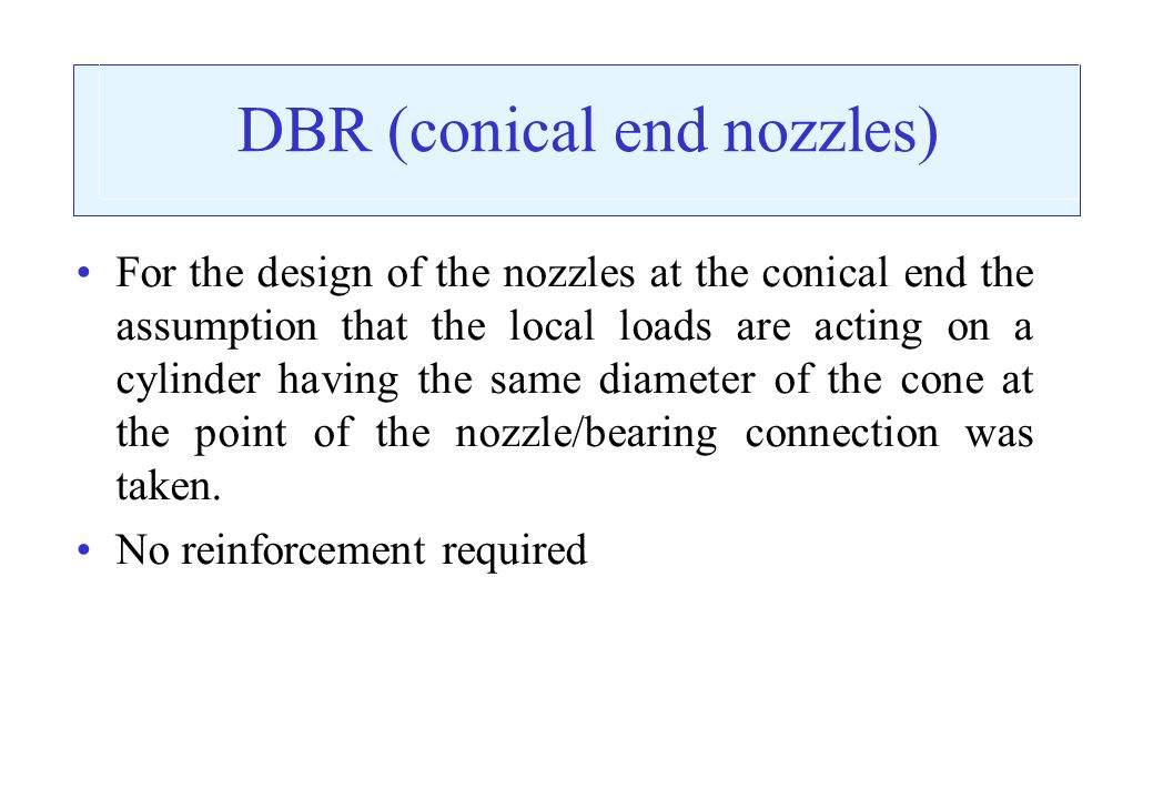 DBR (conical end nozzles)