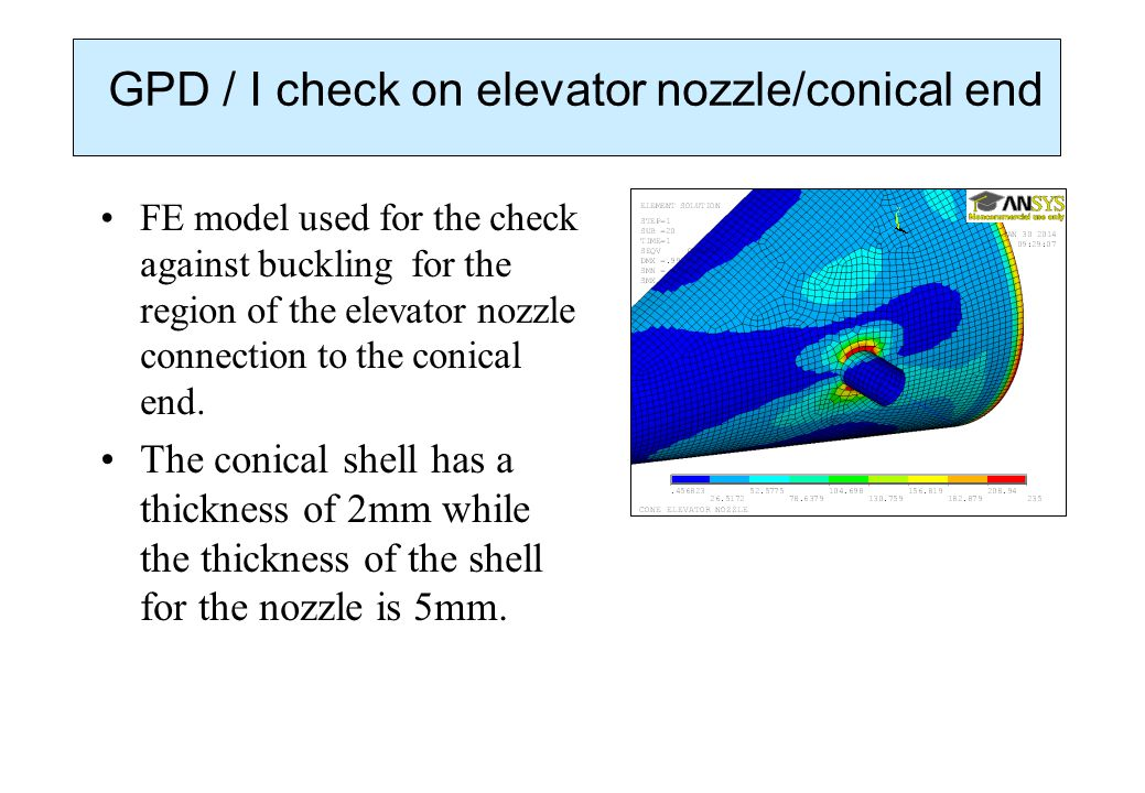 GPD / I check on elevator nozzle/conical end