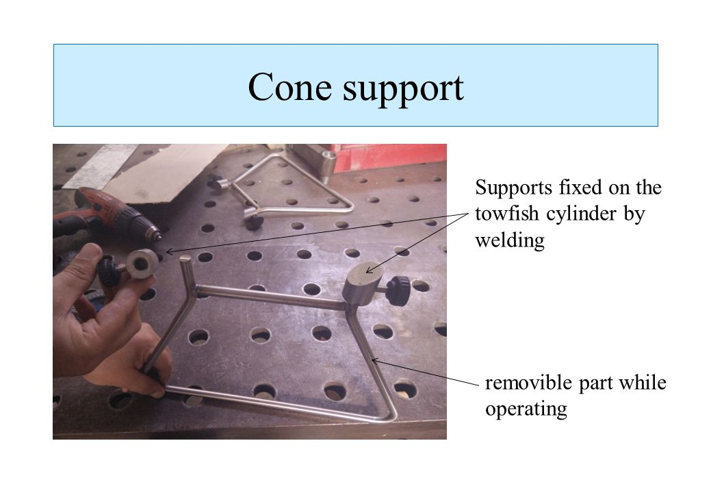 Cone support Supports fixed on the towfish cylinder by welding
