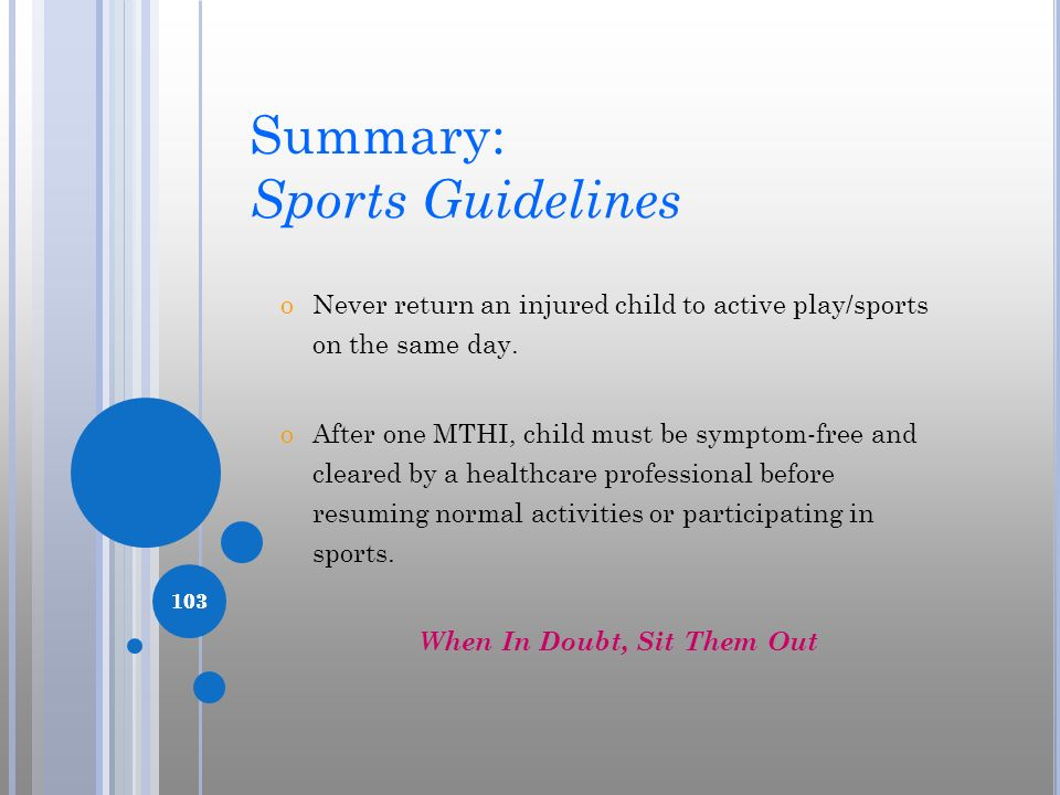Summary: Sports Guidelines