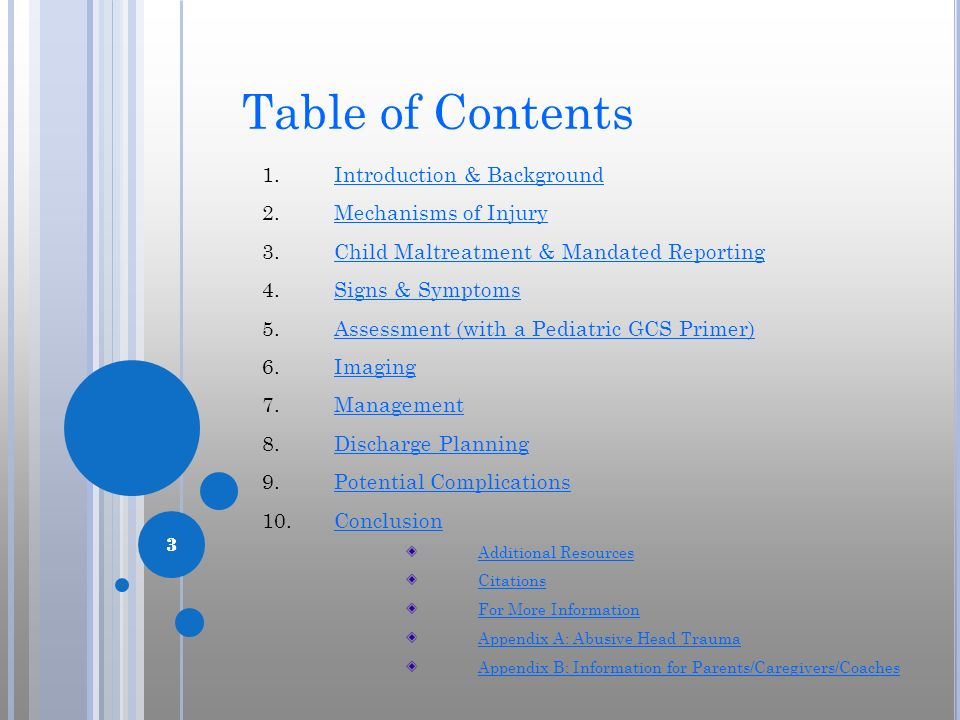 Table of Contents Introduction & Background Mechanisms of Injury