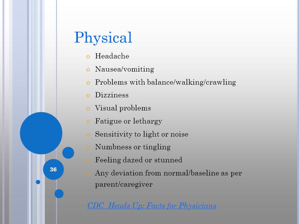 Physical Headache Nausea/vomiting