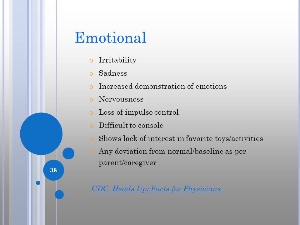 Emotional Irritability Sadness Increased demonstration of emotions