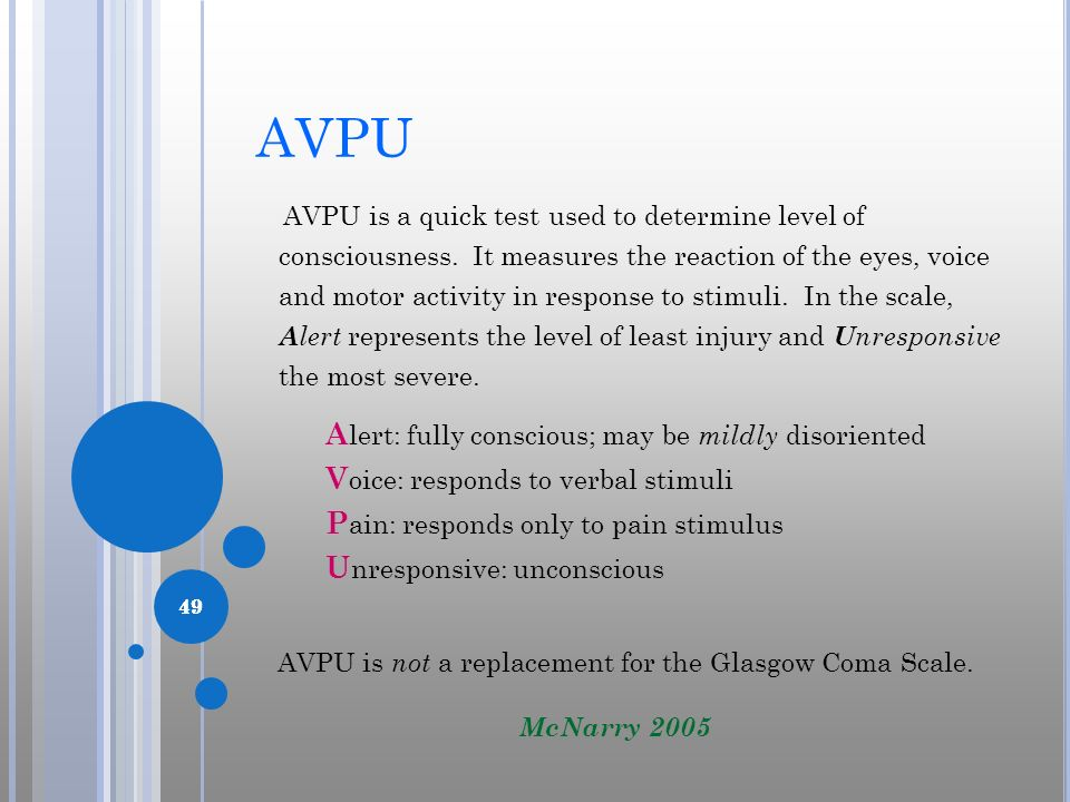 AVPU is not a replacement for the Glasgow Coma Scale.