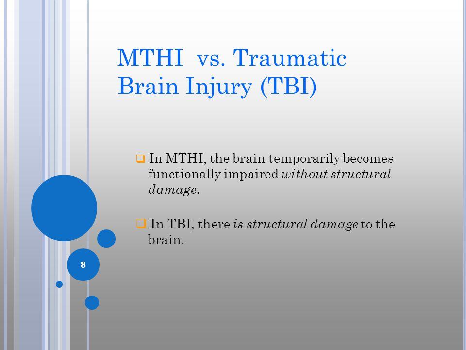 MTHI vs. Traumatic Brain Injury (TBI)
