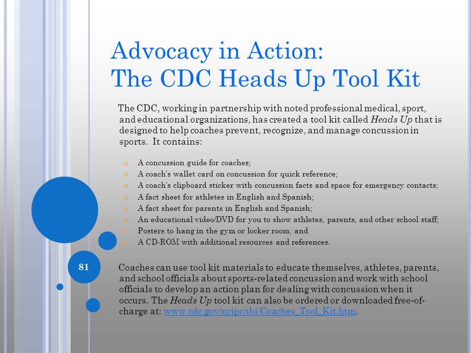 Advocacy in Action: The CDC Heads Up Tool Kit