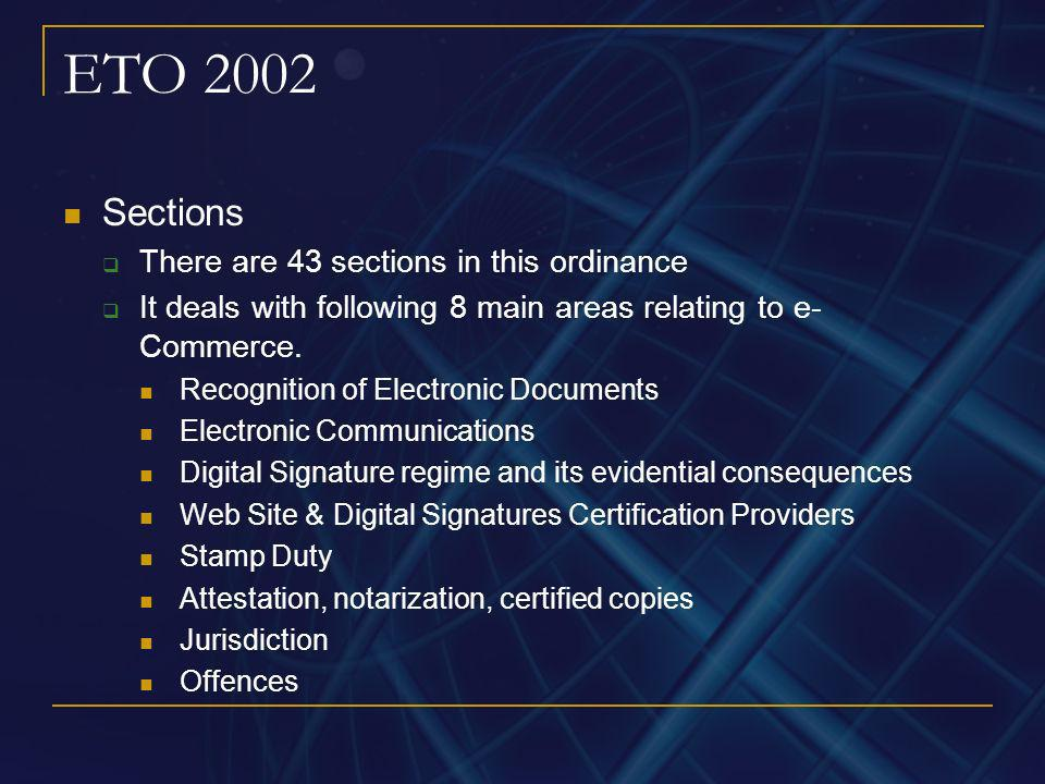 ETO 2002 Sections There are 43 sections in this ordinance