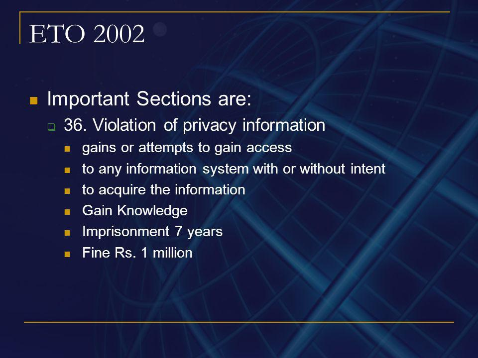 ETO 2002 Important Sections are: 36. Violation of privacy information