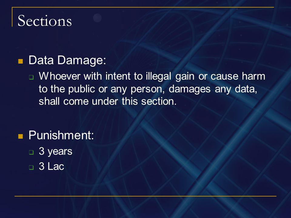 Sections Data Damage: Punishment: