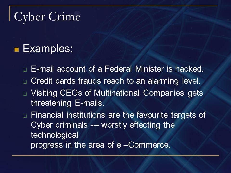 Cyber Crime Examples: E-mail account of a Federal Minister is hacked.