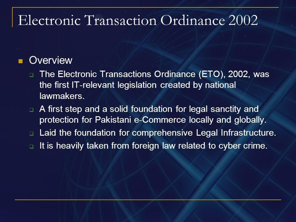 Electronic Transaction Ordinance 2002