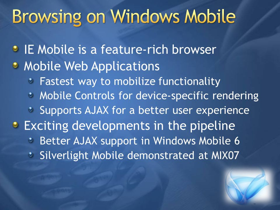 Browsing on Windows Mobile